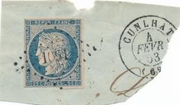 25 C Bleu N° 4 S Frgt Obl Pc 1061 Cunhlat) TB. - 1849-1850 Cérès