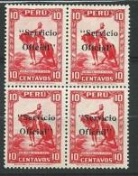 Pérou - Service    - Yvert N° 31  ** Bloc De 4    -  Po56908 - Peru