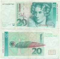 BRD 1993, 20 DM Deutsche Mark, A. Von Droste Hülshoff, Geldschein, Banknote - 20 Deutsche Mark