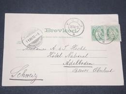 NORVEGE - Entier 5 Ore + 5 Ore De Complément D'affranchissement Pour La Suisse - 1910 - P 22603 - Entiers Postaux