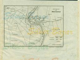 Guerre- Battaglia Di Pozzolo- 1814- STAMPA DELL'EPOCA RAFFIGURANTE LA PREDISPOSIZIONE DEGLI ESERCITI FRANCESI ED AUSTRIA - Carte Topografiche