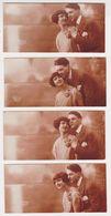 26390 Quatre 4 Photos 5x11cm Amoureux Couple  Baiser Homme Femme - Ketty 253 - Personnes Anonymes