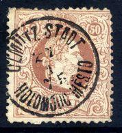 AUSTRIA 1867 Franz Joseph 50 Kr. Coarse Whiskers Perforated 12 Used With Olomouc Postmark.  Michel 41 I D - Czechoslovakia