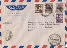 MARCOPHILIE LETTRE PAR AVION EGYPTE CAD LE CAIRE TP NO 312 315 ET 335 YT - Poste Aérienne