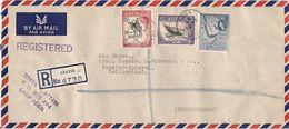 MARCOPHILIE LETTRE RECOMMANDEE PAR AVION ADEN DE 1959 TP NO 54A 57A ET 58A YT - Aden (1854-1963)