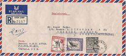 MARCOPHILIE LETTRE RECOMMANDEE PAR AVION ADEN TP NO 57A ET 58A YT - Aden (1854-1963)