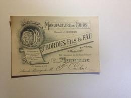 Aurillac, Carte, Avis De Passage ,manufacture De Cuirs Bordes Fils Et Fau , 1920 - Non Classificati