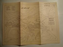 ST. MORITZ. HÔTELS PENSIONS. SUMMER 1953 - SUISSE, SWITZERLAND. - Tourism Brochures