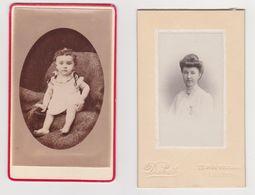 26393 Deux 2 Photo Carte Visite - Photographe Dubat (Femme) Et Guet  (Bébé )ANGERS France - Enfant Child Baby - Guerre, Militaire