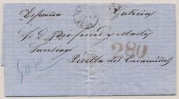 Nederland - 1871 - Compleet Vouwbriefje Van Shipbroker In Vlissingen Via Antwerpen Naar Santiago - ...-1852 Voorlopers