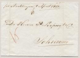 """Nederland - 1850 - Omslag """"Per Nachtwagen 8 April 1850"""" Naar Schiedam - Niederlande"""