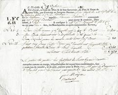 """28 Sept. 1792 - Marseille - Connaissement - Tartane """"L'Heureuse Charlotte"""" Avec Lettre D'accompagnement - Documents Historiques"""