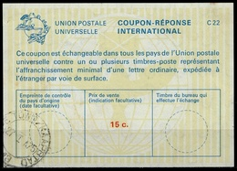 SOUTH AFRICA / AFRIQUE DU SUD La22A 15C.  International Reply Coupon Reponse IAS Antwortschein O CAPE TOWN 27.01.1975 - Briefe U. Dokumente