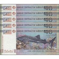 TWN - DJIBOUTI NEW - 40 Francs 2017 DEALERS LOT X 5 - Prefix AB UNC - Djibouti