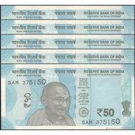 TWN - INDIA NEW - 50 Rupees 2017 DEALERS LOT X 5 - Prefix 5AM - Plate Letter L UNC - India