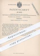 Original Patent - Friedrich Hübner , Remscheid , 1885 , Parallelschere | Schere Für Blech , Metall | Werkzeug !! - Historische Dokumente