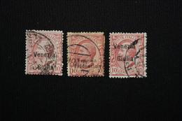 VENEZIA GIULIA/TRENTINO   - 10 C  SOPRASTAMPATI 3 VAL  - 1918 -USATO - 8. WW I Occupation