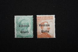 VENEZIA GIULIA-  SOPRASTAMPATI 2 VAL  - 1918 -LINGUELLATO - 8. WW I Occupation