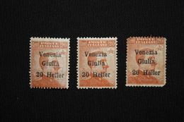 VENEZIA GIULIA-  SOPRASTAMPATI HELLER  3 VAL  - 1919 -LINGUELLATO - 8. WW I Occupation