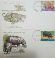 L) 1976 LIBERIA, LEOPARD, 25C, HIPPOPOTAMUS 15C, FAUNA, NATURE, ANIMALS, WORLD WILDLIFE FUND, FDC, SET OF 2 - Liberia