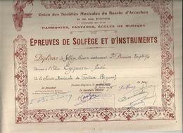 Diplôme De Solfège Et D'Instruments De L'Union Des Sociétés Musicales Du Bassin D'Arcachon /Harmonies,Fanfare,1938 - Diplômes & Bulletins Scolaires