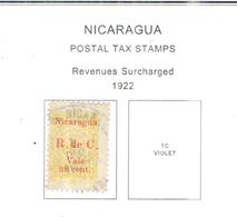 Nicaragua 1922 Tax Rev.em.surch . Scott.RA17 Mista - Nicaragua
