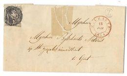 Bladomslag Van Zelzaete Naar Gent Met Verzend En Aankomstdubbelcirkel 1854 En Postbusstempel Z - Entiers Postaux