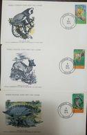 L) 1979 IVORY COAST, COLOBUS MONKEY, JENTINK'S DUIKER, MANATEE, NATURE, ANIMALS, FAUNA, WORLD WILDLIFE FUND, FDC, SET OF - Ivory Coast (1960-...)