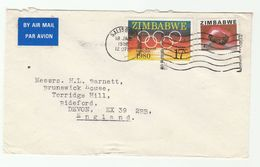 1982 Air Mail ZIMBABWE COVER, Stamps OLYMPICS, GARNET GEMSTONES Minerals Olympic Games Airmail Label - Zimbabwe (1980-...)
