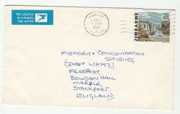 1985 Air Mail ZIMBABWE COVER Stamps ODANZI WATERFALL , Airmail Label - Zimbabwe (1980-...)