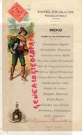 23- VIEILLEVILLE-RARE MENU HOTEL PRADAUDE- DINER 28 -02-1920-IMPRIMERIE REBIERE BOURGANEUF-BENEDICTINE-FILET PERIGUEUX - Menus