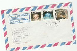 1982 Air Mail ZIMBABWE COVER Illus CONCORDE, Stamps MORGANITE  TOPAZ GEMSTONES , WARTHOG Minerals  Aviation - Zimbabwe (1980-...)
