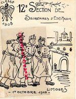 87- LIMOGES- RARE MENU CLASSE 1908-12 E SECTION SECRETAIRES ETAT MAJOR-1-10-1910- MILITARIA- MILITAIRE CASERNE LA QUILLE - Menus