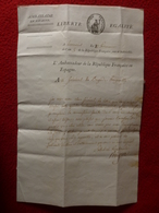 LETTRE AUTOGRAPHE MARECHAL D EMPIRE MARQUIS PERIGNON AMBASSADE ESPAGNE AU GENERAL DE BRIGADE 1796 - Autographs