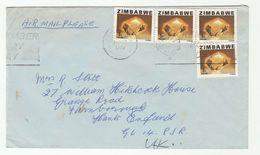 1980 Air Mail ZIMBABWE COVER Multi CITRAINE GEMSTONE Stamps  Minerals - Zimbabwe (1980-...)