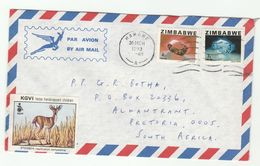 1983 Air Mail ZIMBABWE COVER  KGVI CHARITY LABEL Stamps CITRINE GARNET Gems Minerals Crystal Disability Health Deer - Zimbabwe (1980-...)