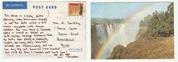 ZIMBABWE Stamps COVER (postcard RAINBOW OVER VICTORIA FALLS GORGE Devils Cataract) - Zimbabwe (1980-...)