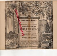 87- LIMOGES- RARE PUBLICITE MAISON L. GASTON-E.CIBOT- A.JUGE- MEUBLES SIEGES-TAPISSERIE-MIROITERIE-SALON 1858 - Publicités