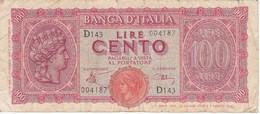 BILLETE DE ITALIA DE 100 LIRAS DEL AÑO 1944  (BANKNOTE) - [ 1] …-1946 : Reino