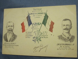C.P.A  - SOUVENIR DE LA VISITE DE S.M. VICTOR-EMMANUEL III - ÉMILE LOUBET - Uomini Politici E Militari