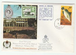 1977 NYERI Kenya EVENT COVER Anniv PRINCESS ELIZABETH ROYAL VISIT Silver Jubilee Royalty FISH Stamps - Royalties, Royals