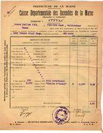VP11.862 - MARNE - Commune De GUEUX 1923 - Déclaration D'Assurance Contre L'Incendie - Bank & Insurance