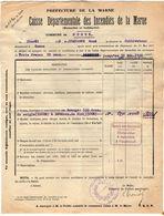 VP11.867 - MARNE - Commune De GUEUX 1922 - Déclaration D'Assurance Contre L'Incendie - Bank & Insurance