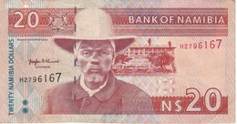 BILLETE DE NAMIBIA DE 20 DOLLARS DEL AÑO 1996  (BANKNOTE) GACELA-DEER - Namibie