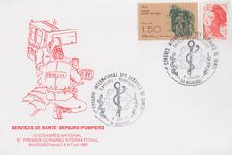 Carte  1er  Congrés  International   Des   Services  De  Santé   SAPEURS - POMPIERS     MULHOUSE    1986 - Sapeurs-Pompiers