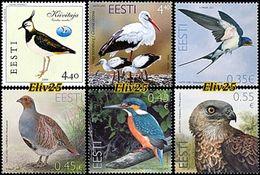 Estonia 2001, 2004, 2011, 2013, 2014 & 2015, Bird Of The Year - 6 Stamps MNH (**) - Pájaros