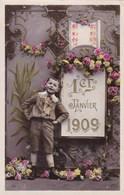 Happy New Year, Bonne Année Gelukkig Nieuwjaar 1910, 1er Janvier, Gold Print, Little Boy (pk43391) - Nouvel An