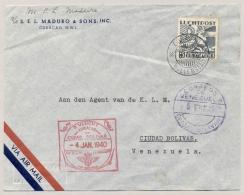 Curacao - 1940 - 15c Luchtpost Als Enkelfrankering Op 1e KLM Vlucht Van Willemstad Naar Ciudad Bolivar / Venezuela - Curaçao, Nederlandse Antillen, Aruba