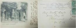 O) 1902 INDIA, POSTAL CARD CAVES ARE A UNESCO WORLD HERITAGE-TEMPLES-LINGA SHRINE ELEPHANTA. STAMPS EDWARD VII-SCOTT A33 - India