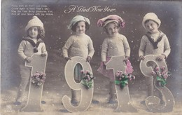 Happy New Year, Bonne Année Gelukkig Nieuwjaar 1913, 4 Children (pk43409) - Nieuwjaar